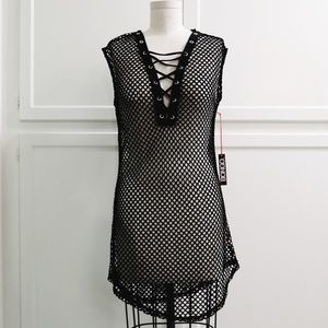 NWT black mesh cover up